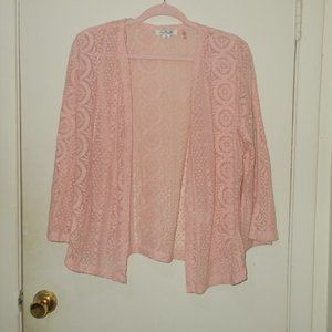 Simply Noelle Sheer Lace Open Front Top Pink
